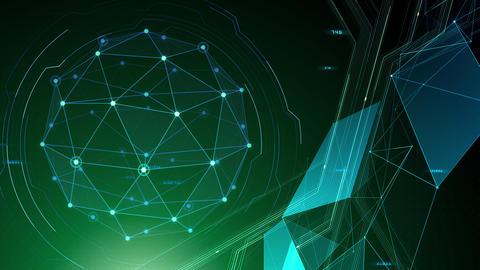 AI digital data network computer technology 3D illustration background 5 09 green CG動画