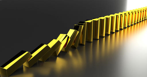 Gold bars row on golden background. 3d illustration. Business concept. Business Live-Action