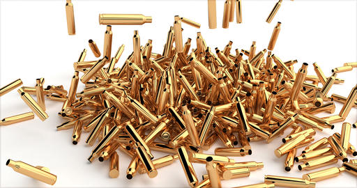 Bullet shell pile, Isolated white background. Rifle target. Military background Live Action