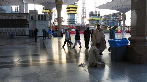 Pilgrims at the Nabawi Mosque at Medina,Saudi Arabia Live Action