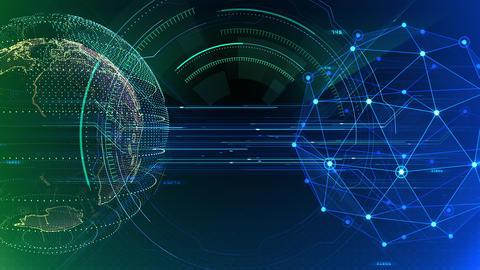 AI digital data network computer technology 3D illustration background 5 17 green Animation