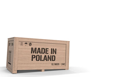 Large wooden crate with MADE IN POLAND text isolated on light background. Polish Live Action