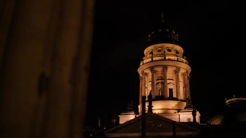 Beautiful historic tower around the corner at night Live Action