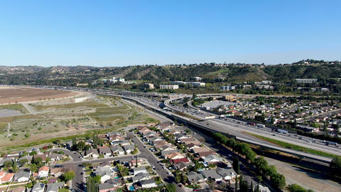 Aerial view of highway with vehicle movement in Diamond Bar city, California Live Action
