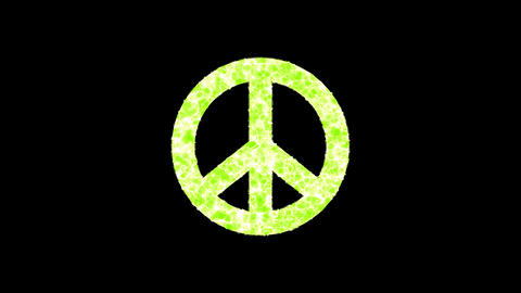 Symbol peace shimmers in three colors: Purple, Green, Pink. In - Out loop. Alpha channel Animation