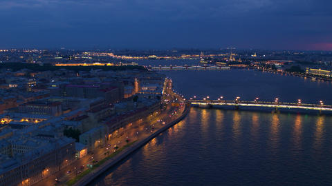 Aerial view on the city river and bridges of night St.Petersburg 20 Live Action