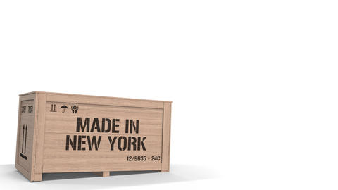 Crate with MADE IN NEW YORK text isolated on light background. industrial Live Action