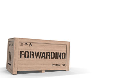 Wooden crate with printed FORWARDING text on white background. 3D animation Live Action