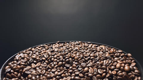 Coffee beans falling, Slow motion Live Action