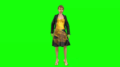 524 4k 3d animated avatar young girl on dating waiting on man Animation