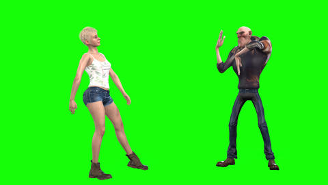 529 4k 3d animated avatar couple young girl and cartoon man dance together Animation