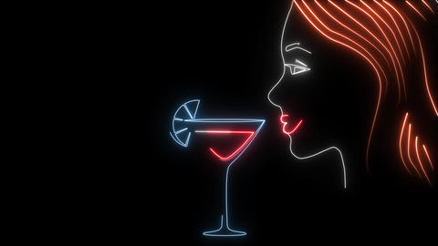 Neon animation of girl with drink. 2d profile portrait of young lady's face next Live Action