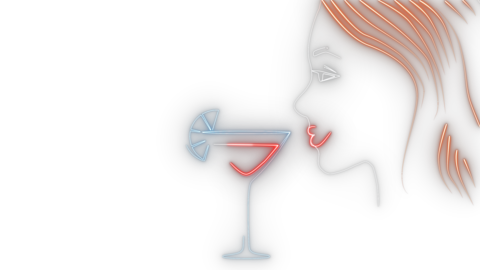 Young girl neon animation on alfa channel. 2D side view of young lady with Live Action