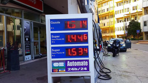 Fuel Price Sign At Esso Gas Station Footage