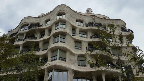 Barcelona, Spain - 24 September 2016 : Casa Mila – La Pedrera façade by Gaudi Footage