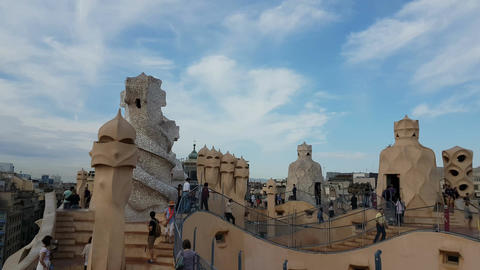 Barcelona, Spain - 24 September 2016: Tourists at La Pedrera Casa Mila rooftops Footage