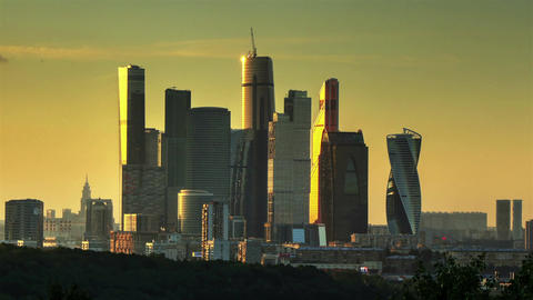 Moscow City evening timelapse Footage