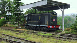 Old fashiones locomotive on railway station in rural Sri Lanka Footage