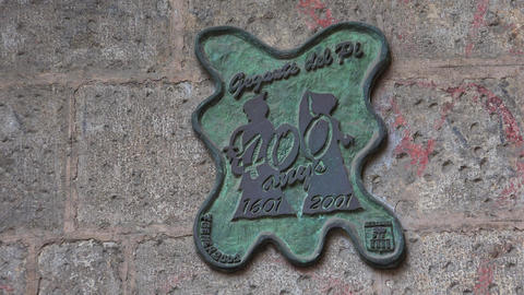 Vintage emblem on the wall of an old house. Barcelona. Spain. 4K Live Action