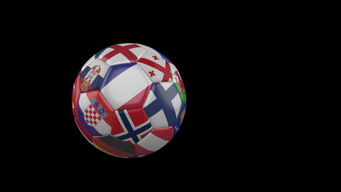 Flags of Euro 4 on slow flying soccer ball on transparent background, alpha Animation