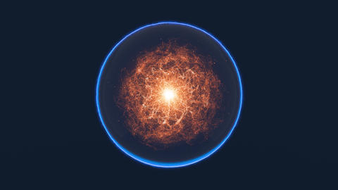 Magic blue sphere with moving orange red energy inside Animation