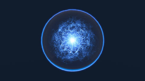 Magic blue sphere with moving energy inside. Seamless loop Animation