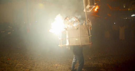 Bull Costume with Fireworks for the Las Posadas Traditional Celebration Live Action