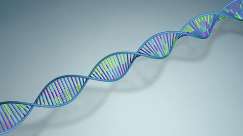 Long blue, green and purple DNA sequence rotating slowly on a blue background Animation