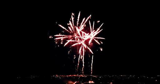multicolor real abstract blinking sparkle celebration fireworks lights on black background, festive Live Action