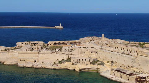 Famous Fort Rikasoli in Kalkara Malta from above Live Action
