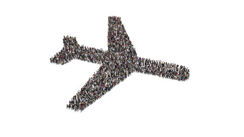 People gathering and forming an air plane shape Animation
