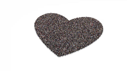 People gathering and forming heart Animation