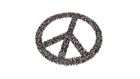 People gathering and forming Peace symbol Animation