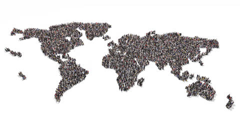 People gathering and forming wold coming together Animation
