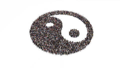 People gathering and forming yin and yang Animation