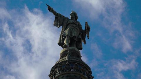 Columbus Monument in Barcelona. Spain. 4K GIF