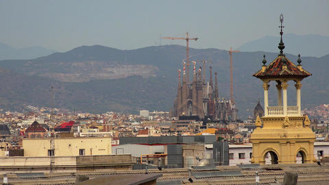 Roofs of old houses in Barcelona. Spain. 4K GIF