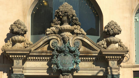 Vintage emblem on the wall of an old house. Barcelona. Spain. 4K GIF