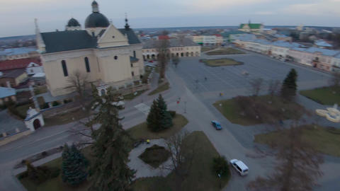 Aerial view of the historical center of Zhovkva, Lviv region, Ukraine. Perfect Live Action