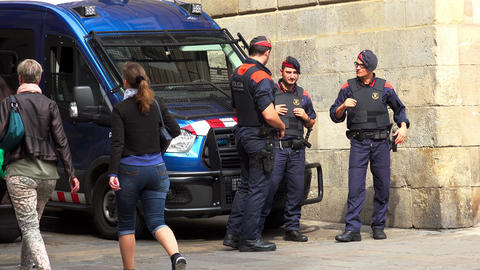 Police in Barcelona. Spain. Policing. 4K Live Action