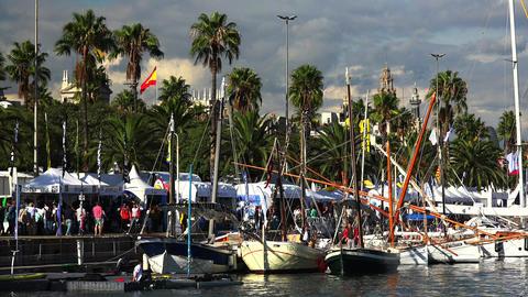 The harbor, the port in Barcelona. Spain. 4K GIF