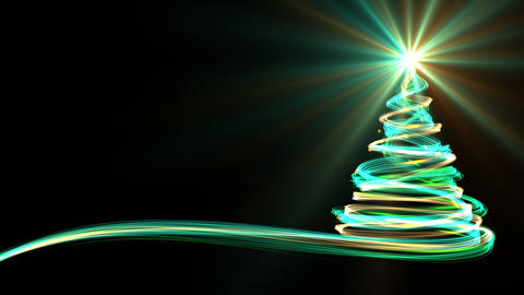 Christmas Tree From Yellow, Blue And Green Neon Streaks GIF