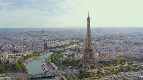 PARIS, FRANCE - MAY, 2019: Aerial drone view of Eiffel tower and historical city Live Action