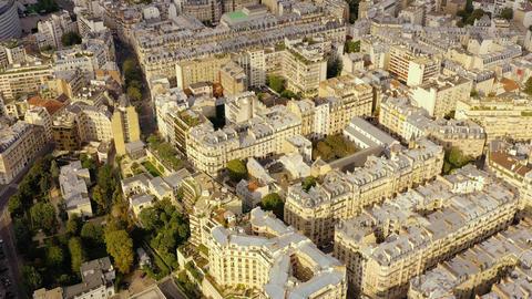 PARIS, FRANCE - MAY, 2019: Aerial drone view of Paris city centre. Historical Live Action