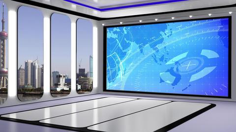 News TV Studio Set 221- Virtual Background Loop Footage
