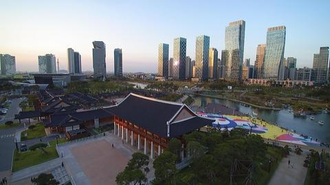 송도센트럴파크 한옥미을2 (Incheon songdo central park) Footage