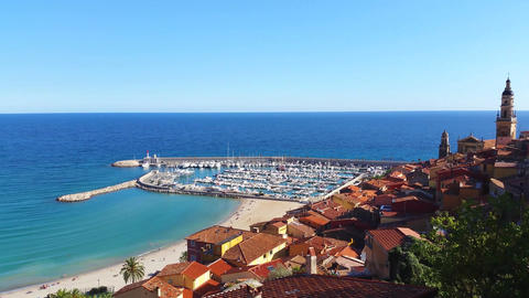 Panoramic View of Menton in France Footage