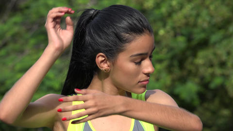 Fit Girl Stretching Healthy Lifestyle Stock Video Footage