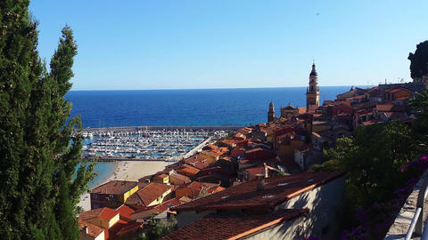 Panoramic View of Menton on the french Riviera Footage