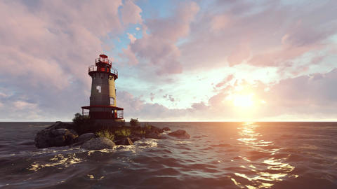 Sea and lighthouse Animation